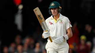 Concussion substitute Marnus Labuschagne filled in for Steve Smith in the second innings and made a gritty 59. Photo: Alastair Grant/AP