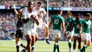 England's Manu Tuilagi celebrates scoring their third try against Ireland in their World Cup warm-up game. Photo: Peter Nicholls/Reuters