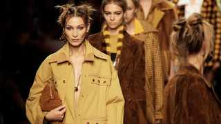 Model Bella Hadid wears a creation as part of the Fendi Spring-Summer 2020 collection. (AP Photo/Luca Bruno)
