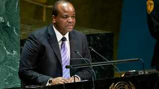 King Mswati III, of Swaziland, which now calls itself Eswatini, addresses the 74th session of the United Nations General Assembly, Wednesday, Sept. 25, 2019. (AP Photo/Craig Ruttle)