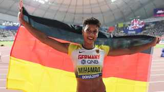 Malaika Mihambo, of Germany, celebrates her gold medal in the women's long jump final at the World Athletics Championships in Doha on Sunday. Photo: Hassan Ammar/AP