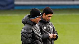 Manchester City boss Pep Guardiola has no doubts that his assistant Mikel Arteta (right) will be a manager one day but has ruled out the possibility of the Spaniard taking over at another club during the current season. Photo: Jason Cairnduff/Reuters