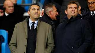 City chairman Khaldoon Al Mubarak (left) said Manchester City were now better placed financially than at any time. Photo: Jason Cairnduff/Reuters