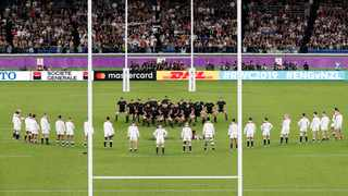 The famous England 'V'  England players watch the All Blacks perform their haka during the Rugby World Cup semifinal at International Yokohama Stadium. Photo: Kyodo News via AP