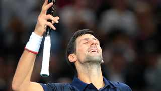 Serbia's Novak Djokovic reacts after he defeats Britain's Kyle Edmund 7-6, 6-1 during the 3rd round match of the Paris Masters. Photo: Michel Euler/AP Photo