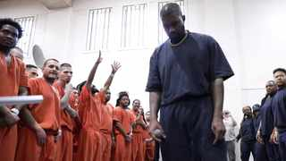 Kanye West performs at the Harris County Jail in Houston. Picture: Reuters