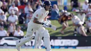 England's Ben Stokes runs between the wickets during play on day one of the first cricket test between England and New Zealand at Bay Oval on Thursday. Photo: AP Photo/Mark Baker
