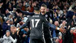 Leicester City's Ayoze Perez celebrates scoring his side's first goal of the game against Brighton and Hove Albion with Jamie Vardy. Photo: Gareth Fuller/AP