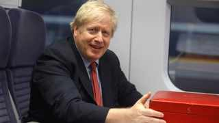Britain's Prime Minister Boris Johnson sits on a train in London, Friday Dec. 6, 2019, on the campaign trail ahead of the general election on Dec. 12. File photo: Peter Nicholls/Pool via AP.