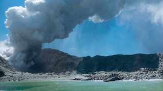 This photo provided by Michael Schade shows the eruption of the volcano on White Island, New Zealand. Unstable conditions continued to hamper rescue workers from searching for people missing and feared dead after the volcano off the New Zealand coast erupted in a towering blast of ash and scalding steam while dozens of tourists explored its moon-like surface. Picture: Michael Schade via AP