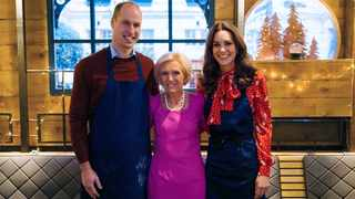 Britain's Prince William, left and Kate, the Duchess of Cambridge pose for a photo with TV personality Mary Berry in the winter chalet at the Rosewood London Hotel. The celebrity cook joined the Duke and Duchess of Cambridge on a number of royal visits for the BBC1 programme A Berry Royal Christmas. Picture: AP