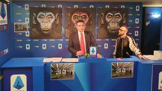 Artist Simone Fugazzotto defended on Tuesday a widely criticised anti-racism campaign launched by Italy's Serie A soccer league which features his paintings of apes. Photo: Reuters