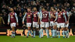 Aston Villa's Conor Hourihane, second left, celebrates with teammates after scoring his side's opening goal during the English League Cup quarter final soccer match between Aston Villa and Liverpool at Villa Park. Photo: AP Photo/Rui Vieira