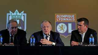 """Olympique Lyonnais president Jean-Michel Aulas (centre) again lashed out at the French League for ending the Ligue 1 soccer season early amid the Covid-19, calling the decision """"stupid"""". Photo: AP Photo/Ted S. Warren"""