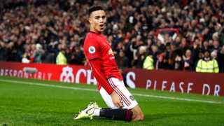 Manchester United's Mason Greenwood celebrates after scoring against Newcastle United at Old Trafford in December. Photo: Martin Rickett/AP