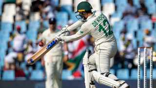 Quinton de Kock had got himself into a frenzy by the time Dwaine Pretorius, on debut, arrived at the crease on Thursday.  Photo: Themba Hadebe/AP Photo