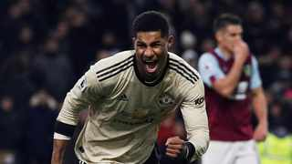 Manchester United's Marcus Rashford celebrates after scoring their second goal during their Premier League game against Burnley at Turf Moor on Saturday. Photo: Phil Noble/Reuters