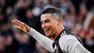 Juventus' Cristiano Ronaldo celebrates after scoring during their Italian Serie A match against Cagliari at the Allianz Stadium in Turin on Monday. Photo: Marco Alpozzi/AP