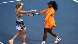 Serena Williams and Caroline Wozniacki teamed up in the doubles for the first time to beat Japanese pair Nao Hibino and Makoto Ninomiya 6-2 6-4 at the Auckland Classic on Monday. Photo: Chris Symes/Photosport via AP