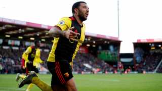 Watford captain Troy Deeney celebrates after scoring their second goal against Bournemouth during their Premier League clash at the Vitality Stadium on Sunday. Photo: Matthew Childs/Reuters