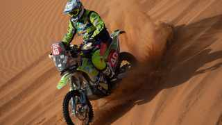 In this January 10 photo, Edwin Straver rides his KTM during stage six of the Dakar Rally. AP Photo/Bernat Armangue.