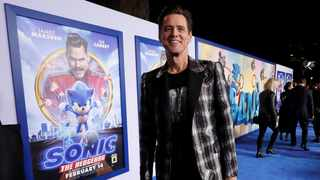 """Cast member Jim Carrey poses at the premiere of """"Sonic the Hedgehog"""" in Los Angeles. Picture: Reuters"""
