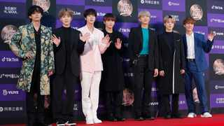 BTS pose for photos during the Golden Disk Awards in Seoul, South Korea.Picture: AP Photo/Ahn Young-joon, File