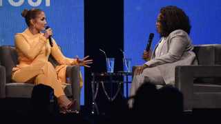 """Jennifer Lopez and Oprah Winfrey participate in """"Oprah's 2020 Vision"""" tour at the Forum on Saturday, Feb. 29, 2020, in Inglewood, Calif. Picture: AP"""