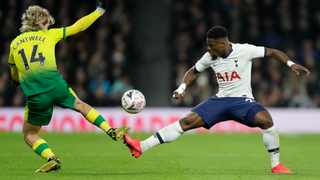 Tottenham's Serge Aurier, right, was seen training with teammate Moussa Sissoko in breach of social distancing regulations. Photo: AP Photo/Kirsty Wigglesworth