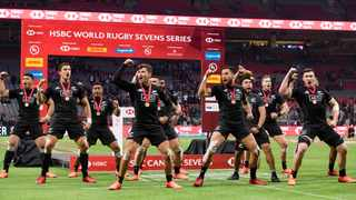 New Zealand players perform the haka after defeating Australia during the final at the Canada Sevens rugby tournament in Vancouver. Photo: Darryl Dyck/The Canadian Press via AP