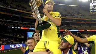 Australia's David Warner and Aaron Finch carry captain Michael Clarke on their shoulders after they won the 2015 Cricket World Cup. Picture: Reuters