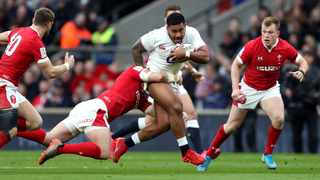 England's Manu Tuilagi in action during the Six Nations match against Wales at Twickenham. The Six Nations, as well as the end-of-year tours are in doubt because of the coronavirus pandemic. Picture: David Davies/PA via AP
