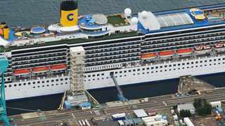 Italian-operated cruise ship the Costa Atlantica is anchored at a port in Nagasaki, southern Japan. Picture: AP