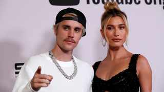 """Justin Bieber and his wife Hailey Bieber pose at the premiere for the documentary television series """"Justin Bieber: Seasons"""" in Los Angeles. Reuters"""