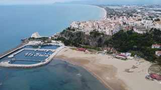 This aerial picture shows an view of hilltop seaside town Sperlonga and its beaches, about 120km south of Rome. Picture: AP