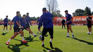Atletico Madrid, team players take part in one of their first group training sessions in Madrid. The team will play in the Champions League quarter-finals after beating Liverpool in the previous round. Picture: Atletico de Madrid via AP