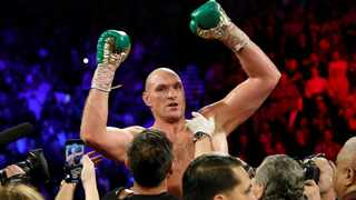 FILE - Tyson Fury celebrates after winning his fight against Deontay Wilder. Photo: Steve Marcus/Reuters