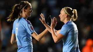 Manchester City's Pauline Bremer, right, celebrates after scoring against Everton during their Women's Super League match at the Academy Stadium in January. Photo: Anthony Devlin/AP