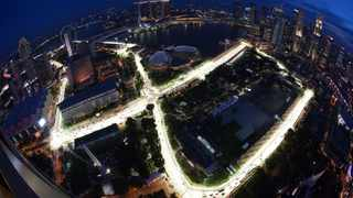 A view of the illuminated Marina Bay street circuit of the Singapore Formula One Grand Prix at dusk. Picture: Reuters