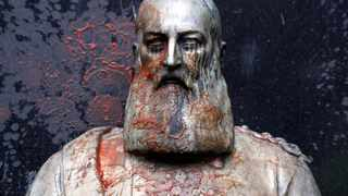 A statue of former Belgian King Leopold II, a controversial figure in the history of Belgium, stands in the city of Ghent. Picture: Yves Herman/Reuters