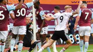 The biggest talking point in the match was Aston Villa's Oerjan Nyland saving a shot, before stepping backwards into his own net. Sheffield United's players were convinced the ball had crossed the line, but the goal was not awarded. Picture: Paul Ellis/Pool via AP