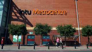 Logo of the Intu Metrocentre is pictured near the entrance to the Red Mall in Metrocentre