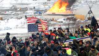 Opponents of the Dakota Access oil pipeline march out of their main camp near Cannon Ball, North Dakota in February 2017. File picture: Terray Sylvester/Reuters