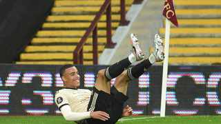Manchester United's Mason Greenwood celebrates his goal against Aston Villa on Thursday. Picture: Reuters