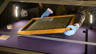 The Salisbury Cathedral 1215 copy of the Magna Carta is installed in a glass display cabinet marking the 800th anniversary of the sealing of Magna Carta at Runnymede in 1215. File picture: Matt Dunham/AP