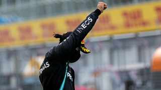 Mercedes driver Lewis Hamilton of Britain reacts after winning the Styrian Formula One Grand Prix race at the Red Bull Ring racetrack in Spielberg, Austria, on Sunday. Photo: Leonhard Foeger/AP