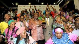 President Cyril Ramaphosa and Minister of Arts and Culture Nathi Mthethwa received the Soweto  Gospel Choir for a congratulatory message after winning a Grammy award. Picture: Nokuthula Mbatha/African News Agency(ANA)