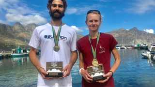 Kane Reilly and Nicolette Griffioen, pose with their reprective trophies after being crowned SA Trail Champions. Photo: Stephen Granger