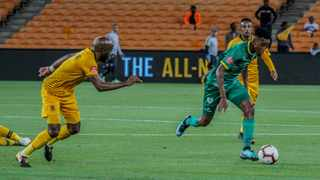 Matome Mabeba of Baroka FC is challenged by Ramahlwe Mphahlele of Kaizer Chiefs during their Absa Premiership game at the FNB Stadium in Johannesburg on Saturday. Photo: Lebo Edgar/BackpagePix