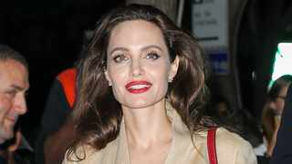 Angelina Jolie was spotted all smiling while leaving AMC Loews Lincoln Square in New York City, NY.  Picture: Bang Showbiz